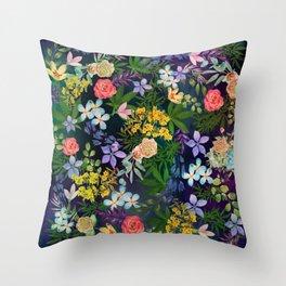 Flowery Marijuana Throw Pillow