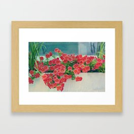 Painterly Summer Floral Coral Red Million Bells in Beachy Window Box Framed Art Print
