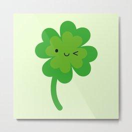 Kawaii Lucky Four Leaf Clover Metal Print