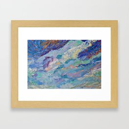 Summer Clouds - impressionism abstract summer nature landscape by Adriana Dziuba Framed Art Print