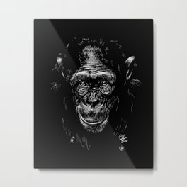 Black and White Chimp Drawing - The Wise One Metal Print