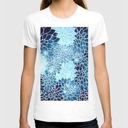 Space Dahlias Blue Ice T-shirt