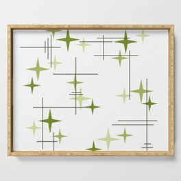 Mid Century Modern Stars Chartreuse Green Serving Tray