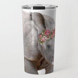 Baby Animal Rhino with flower crown Travel Mug