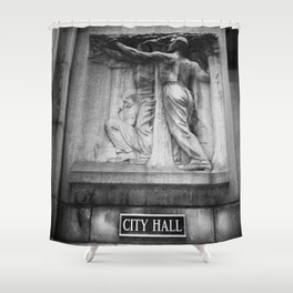 City Hall Chicago Black and White Shower Curtain