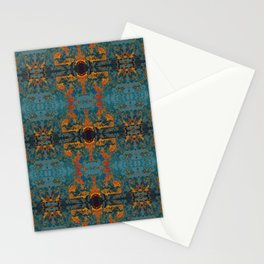 The Spindles- Blue and Orange Filigree  Stationery Cards