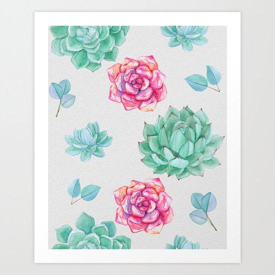 Summer Wildflowers & Succulents Art Print