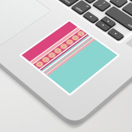 Daisy Stripe Pink Blue Yellow Sticker