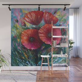 Red Poppies Oil Painting with a Palette Knife Wall Mural