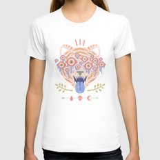 Eyes of the Tiger White MEDIUM Womens Fitted Tee