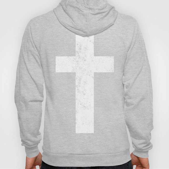 Cross (distressed white)  Hoody