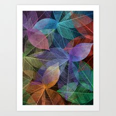 Colored Leaf Pattern 2 Art Print