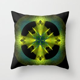 Spinning Wheel Hubcap in Lime Green Throw Pillow