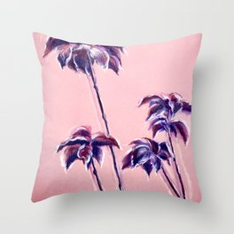 Maroon Leaves_Pastel and watercolor painting on colored paper Throw Pillow