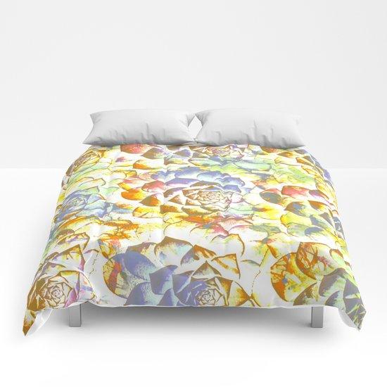 pastel succulent Comforters