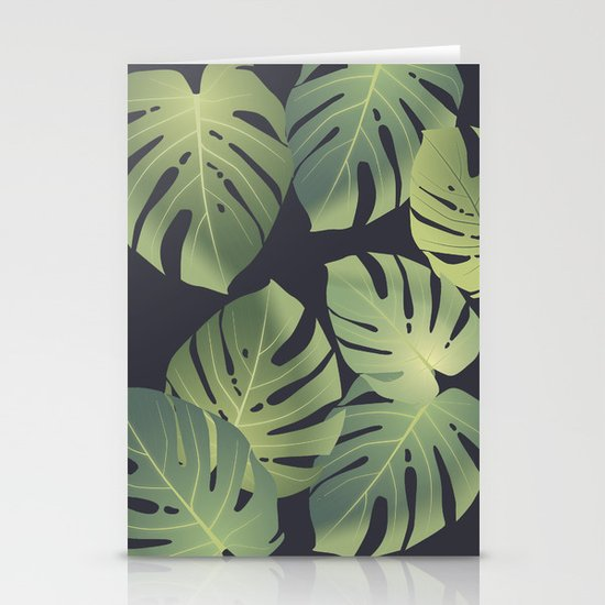 Monstera tropical leaf Stationery Cards