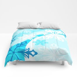 Blue Flower Art Winter Holiday Comforters