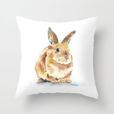 Bunny Rabbit Watercolor Painting - Woodland Animal Art Throw Pillow