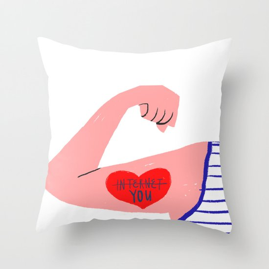 I love you (and the internet) Throw Pillow