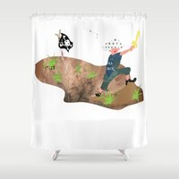pirate Shower Curtains featuring Pirate by Design4u Studio