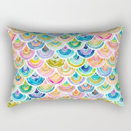 STRANGEBOW Rainbow Mermaid Scallop Rectangular Pillow