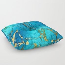 Gold And Teal Blue Indigo Malachite Marble Floor Pillow