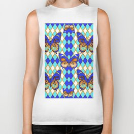 ARGYLE ABSTRACTED  BROWN SPICE  MONARCHS BUTTERFLY & BLUE-WHITE Biker Tank