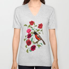 Roses and Robins Unisex V-Neck
