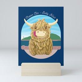 Scottish Highland Cow With Ocean Salty Hair Mini Art Print