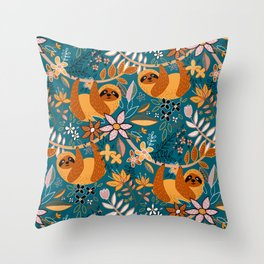 Happy Boho Sloth Floral Throw Pillow