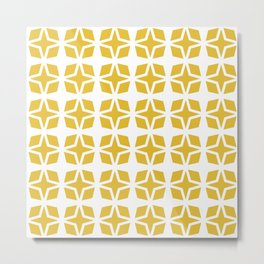 Mid Century Modern Star Pattern Mustard Yellow 551 Metal Print