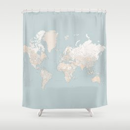 "Muted colors highly detailed world map, square, ""Tiara"" Shower Curtain"