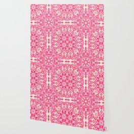 Hot Pink & Soft Cream Folk Art Pattern Wallpaper