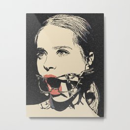 Talking heads, there is always way to change that, BDSM erotic artwork, gagged beauty portrait Metal Print