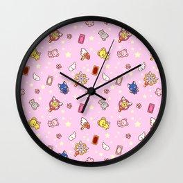 cardcaptor sakura pattern pink Wall Clock