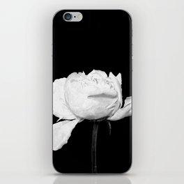 White Peony Black Background iPhone Skin
