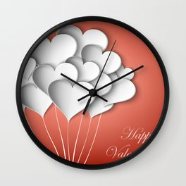 Balloons hearts from paper Valentine's Day Wall Clock