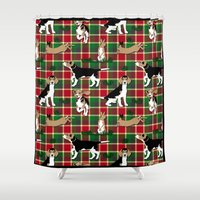 hunting Shower Curtains featuring Hunting Tartan by Vannina