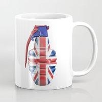 british flag Mugs featuring British grenade by GrandeDuc