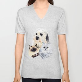 2 Cats and a Pup Unisex V-Neck