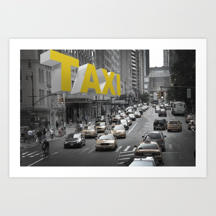 New York Taxi in the air Art Print