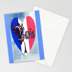 Paris France Heart On Blue Canvas Stationery Cards