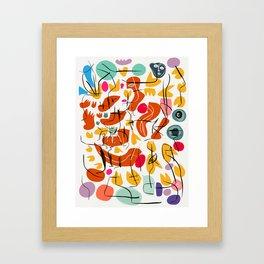 Flowers and Birds Illustration Pattern Framed Art Print