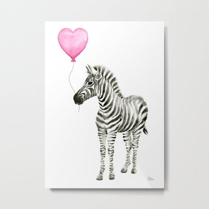 Zebra with Balloon Animal Watercolor Whimsical Animals Metal Print