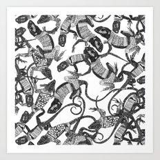 just lizards black white Art Print