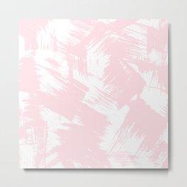 Blush pink white modern watercolor brushstrokes Metal Print