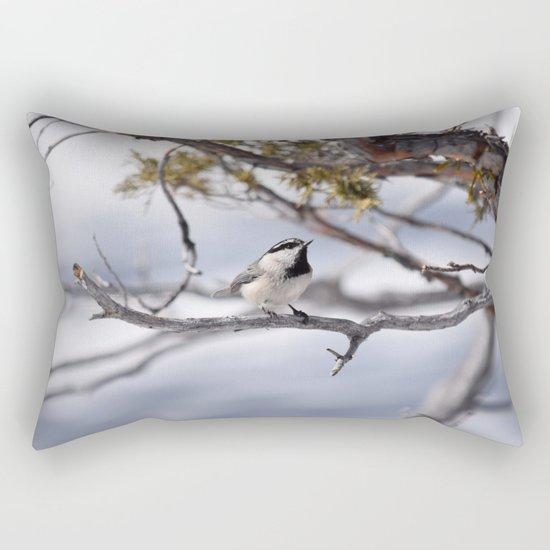 Winter Chickadee Rectangular Pillow