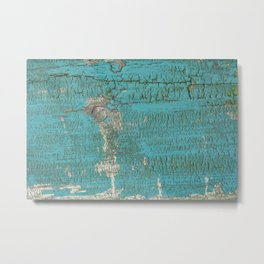 Rustic Wood with Bright Turquoise Paint Weathered Aged to perfection Metal Print