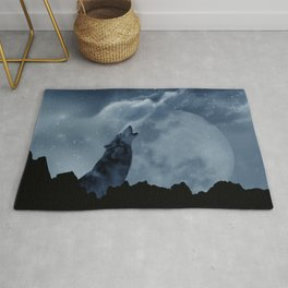 Wolf howling at full moon Rug