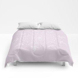 White Vector Mandala on Light Purple Comforters